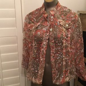 Ruby Rd. Burnout jacket coral taupe 14p perfect